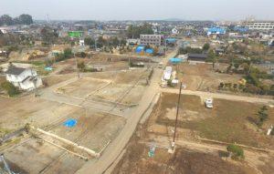 地震から1年後の益城町の空撮