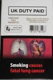 イギリスの煙草パッケージ