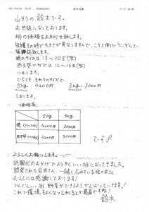 鈴木さんからの価格表&手紙
