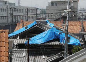 台風21号の影響で被害を受けブルーシートが掛けられた家屋