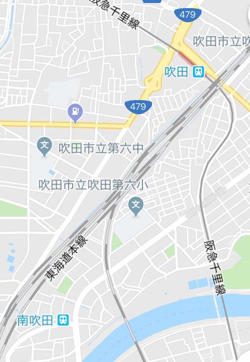 グーグルマップが、おおさか東線の南吹田を、京都線の吹田と繋げてしまう。孤立する南吹田。