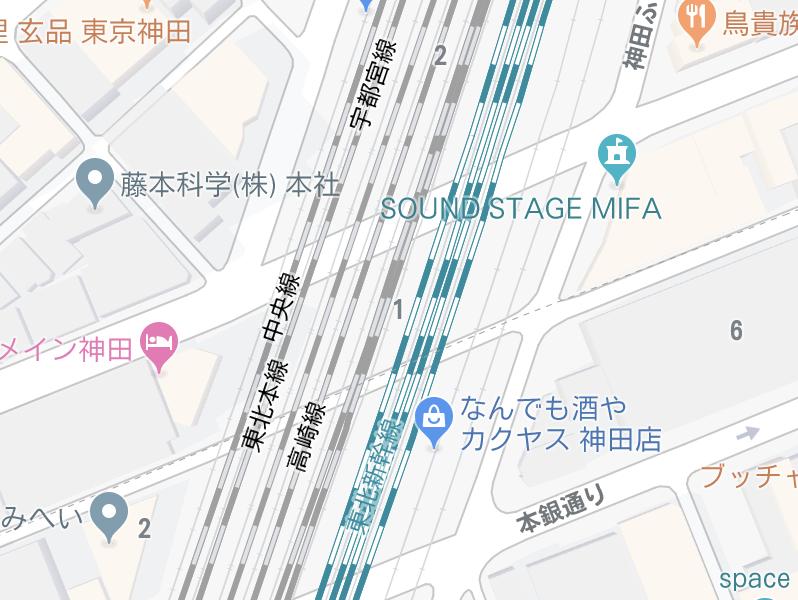 東京都のJR神田駅周辺地図、線路の数が物凄いことになっている