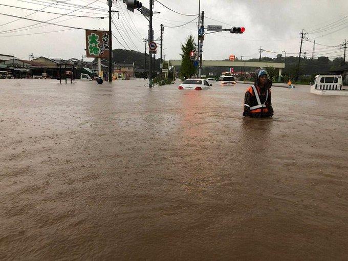 佐賀県多久市・牛津川氾濫