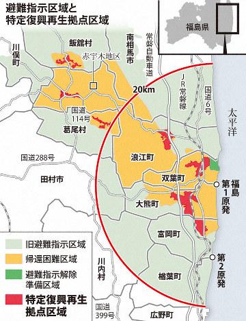 避難指示区域と特定復興再生拠点区域