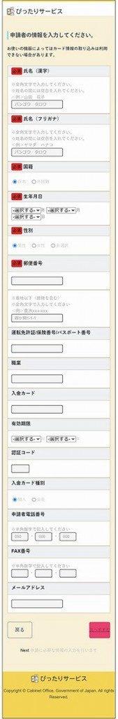 第二回目特別定額給付金オンライン申請サイト②